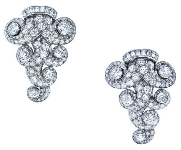 Spille di diamanti, anni '50 circa, foto da catalogo Christie's