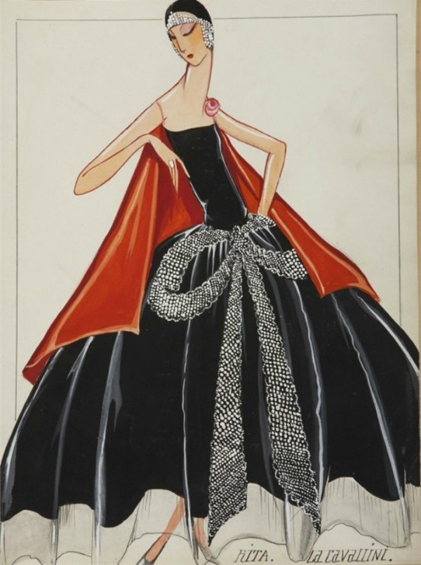 """Jeanne Lanvin, bozzetto per abito """"La Cavallini"""", 1925"""