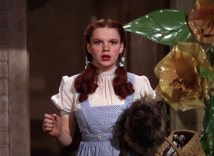 """Judy Garland nei panni di Dorothy  Gale con un abito a quadretti bianchi e blu con al braccio il cagnolino e un cestino nel film """"Il mago di Oz"""" del 1939"""