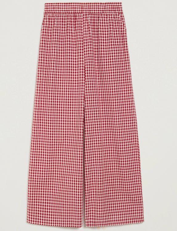Pantaloni stampa Vichy bianco e rosso, Pennyblack PE 2020
