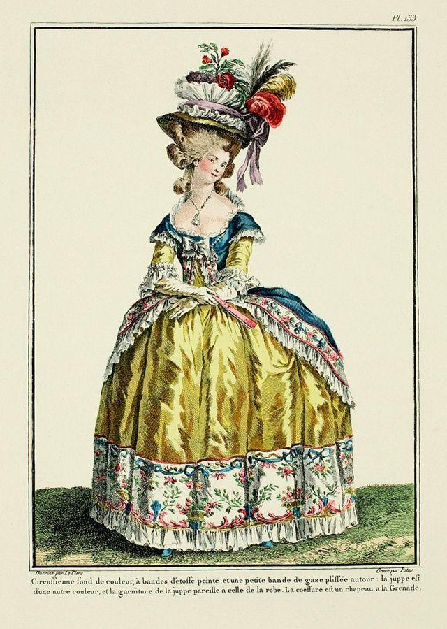 La dama indossa un abito giallo con inserti blu e passamanerie con frange e fiori.  Completano i guanti, un ventaglio e un grande cappello con fiori e piume